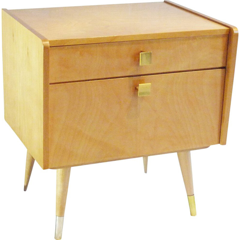 Small vintage bedside table in light wood