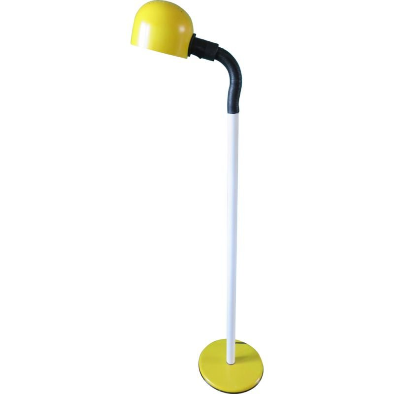 Vintage space floor lamp in yellow and white, Sweden 1970s