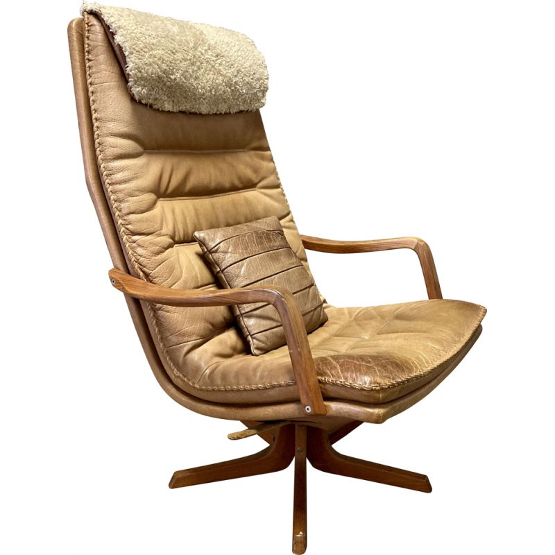 Vintage leather swivel and reclining armchair, Scandinavian 1960s