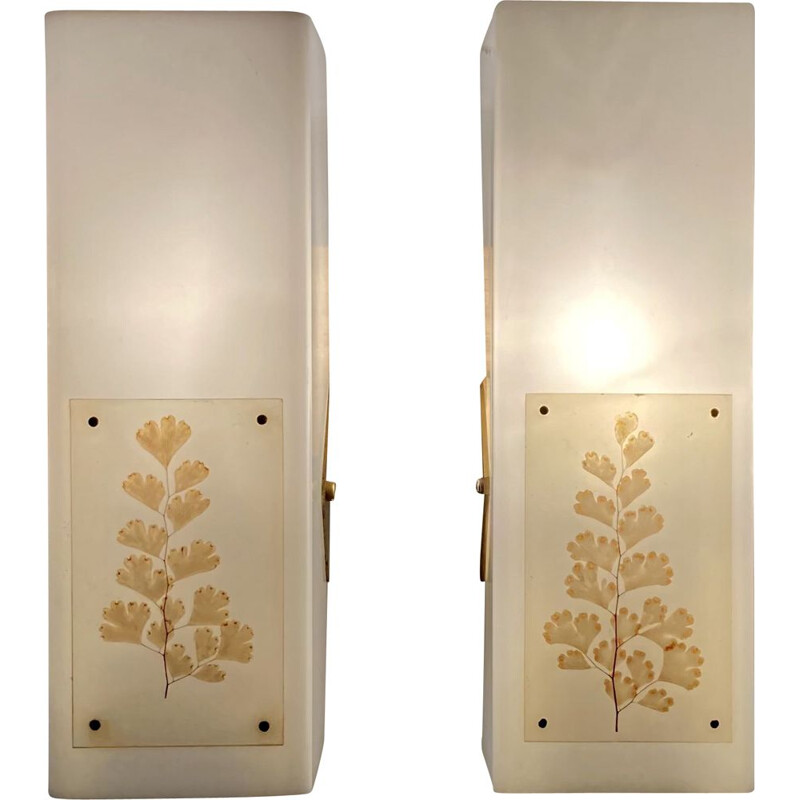 Pair of vintage metal and plastic sconces, Scandinavian 1950s