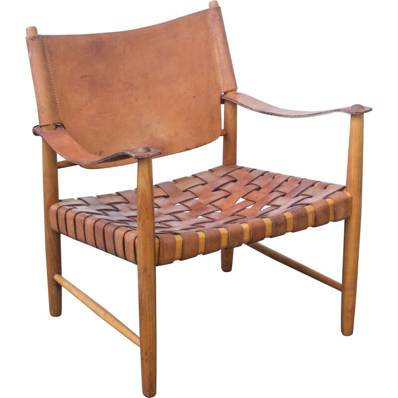 Vintage Cognac Leather Safari Chair, Danish 1950s
