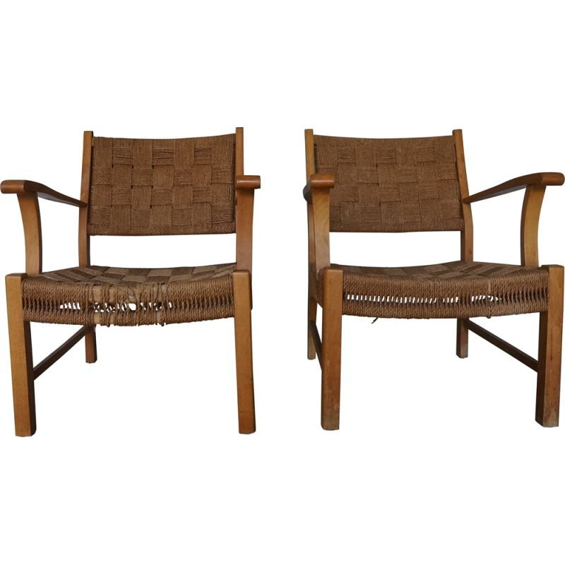 Pair of Vintage Beechwood & Sea Grass Webbing Armchairs by Frits Schlegel for Fritz Hansen, 1940s