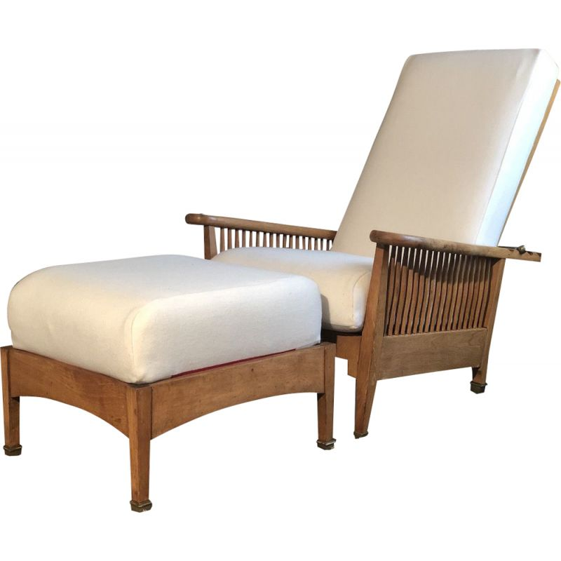 Vintage Oak Reclining Lounge Chair William Morris Art and Craft 1930
