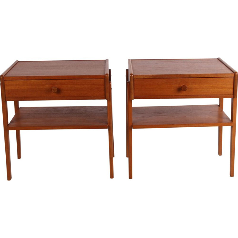 Pair of vintage teak wooden bedside tables with wooden knob Danish 1960s