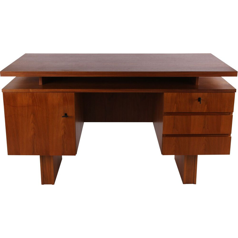 Vintage teak desk with 3 drawers Danish 1960s