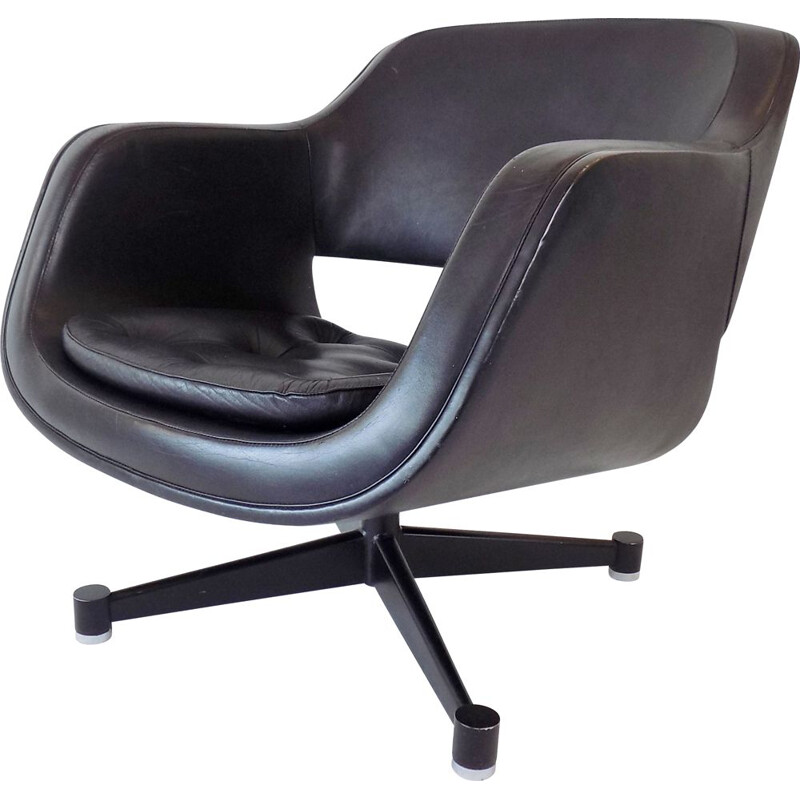 Vintage Asko Oy black leather armchair by Eero Aarnio