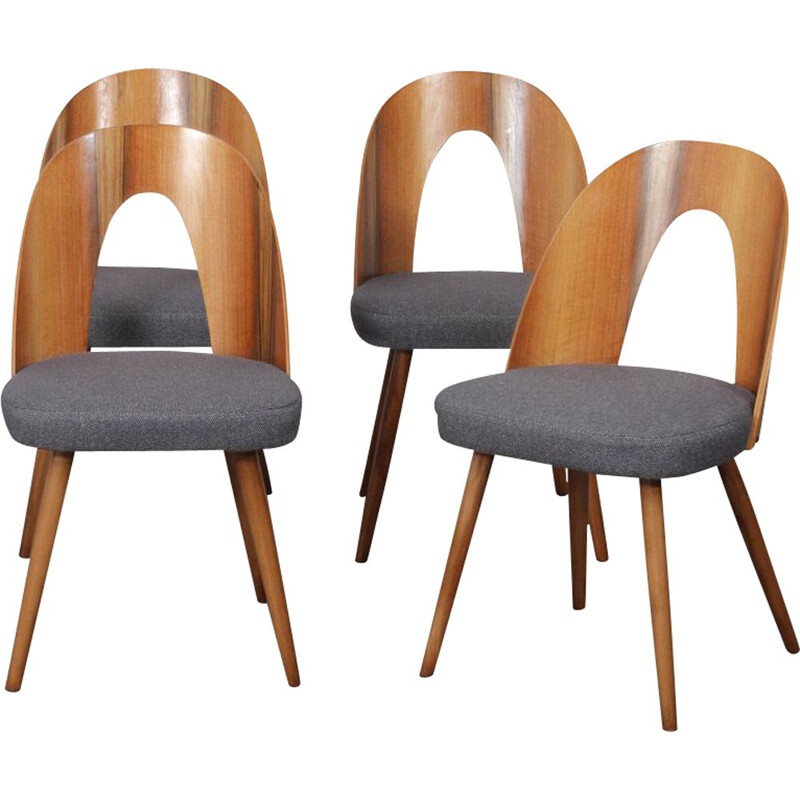 Set of 4 vintage walnut chairs by Antonin Suman, 1960
