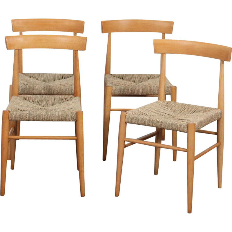 Set of 4 vintage wooden chairs edited by Uluv, 1960