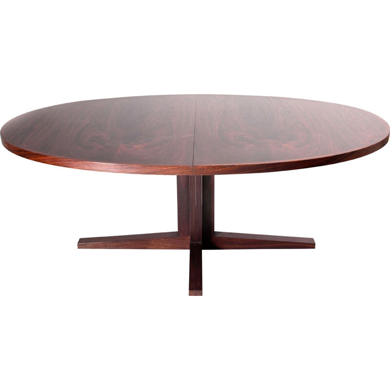 Large oval dining table with 2 extensions in Scandinavian rosewood from Rio