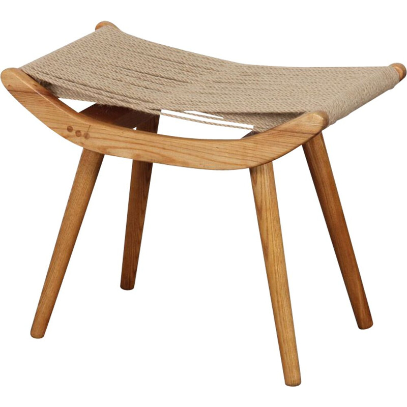 Vintage wood and rope stool, Uluv, Czech Republic, 1960