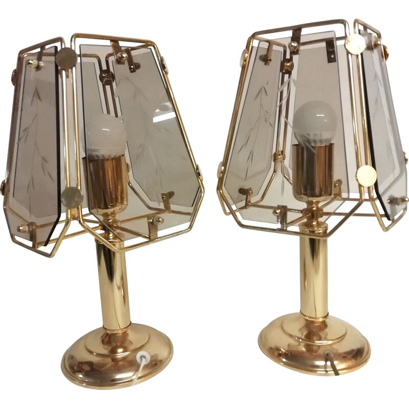 Pair of vintage crystals table lamps 1990s