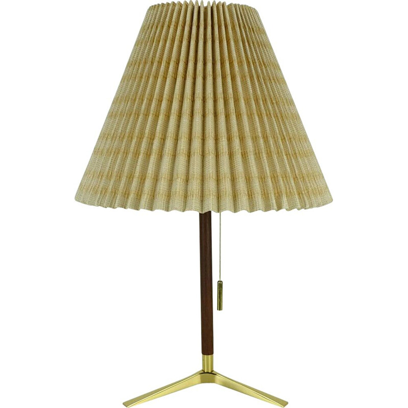 Mid century Table Lamp j. t. kalmar brass teak and fabric austrian 1950s