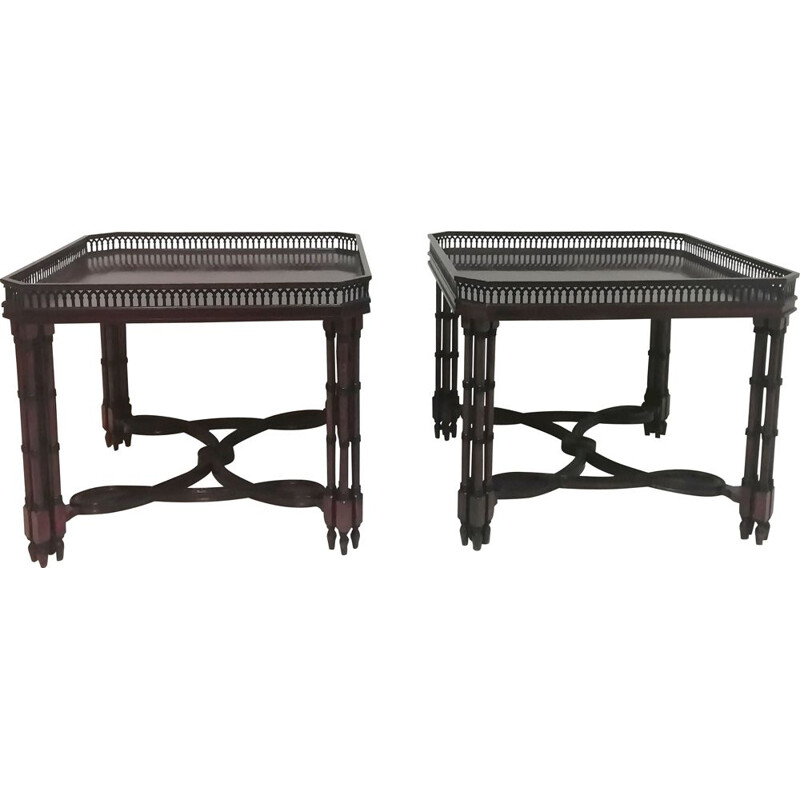 Pair of vintage wooden tea tables Spain 1960s