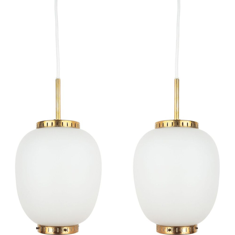 Pair of vintage pendant lamps China (Kina) by Bent Karlby, Lyfa Danish 1946