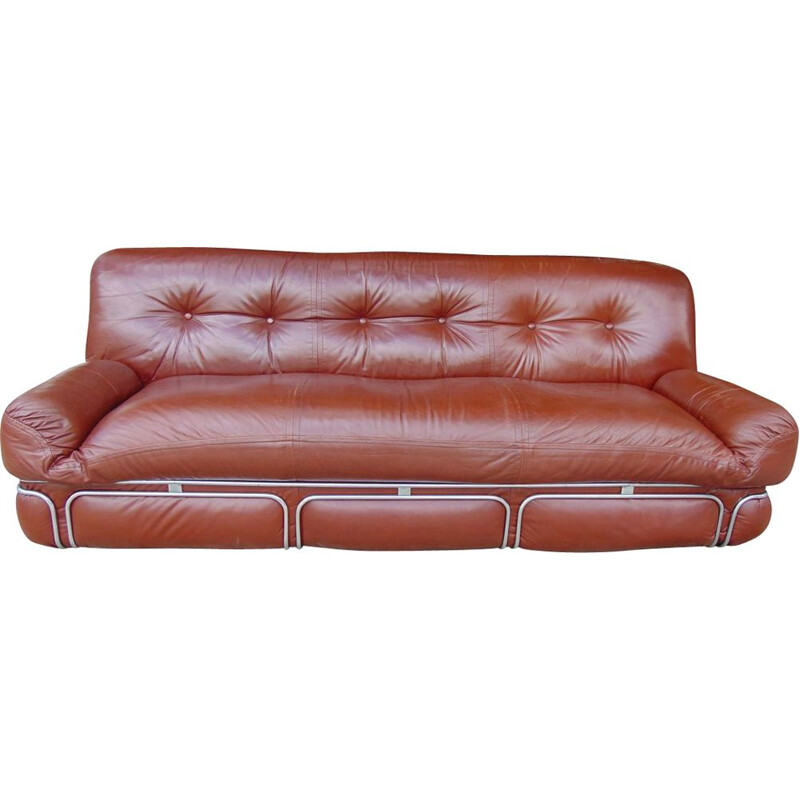 Vintage sofa in eco leather with chromed structure 1970s