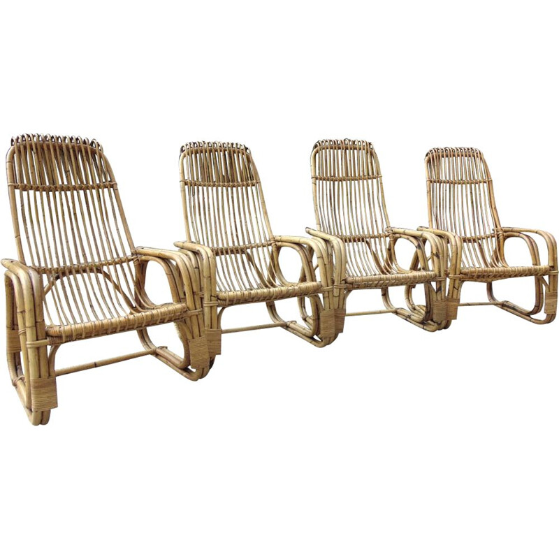 Set of 4 vintage bamboo armchairs 1970s