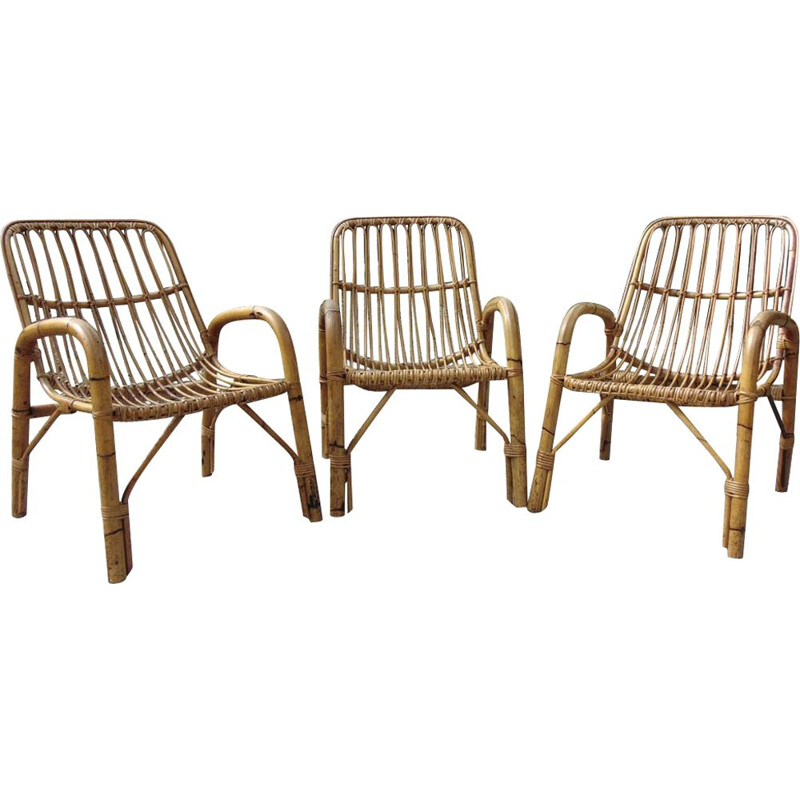 Set of 3 Vintage armchairs bamboo 1970s