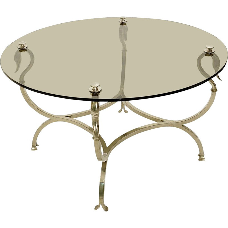 Vintage chrome steel Swan Coffee Table Original Maison Jansen smoked glass top 1950s