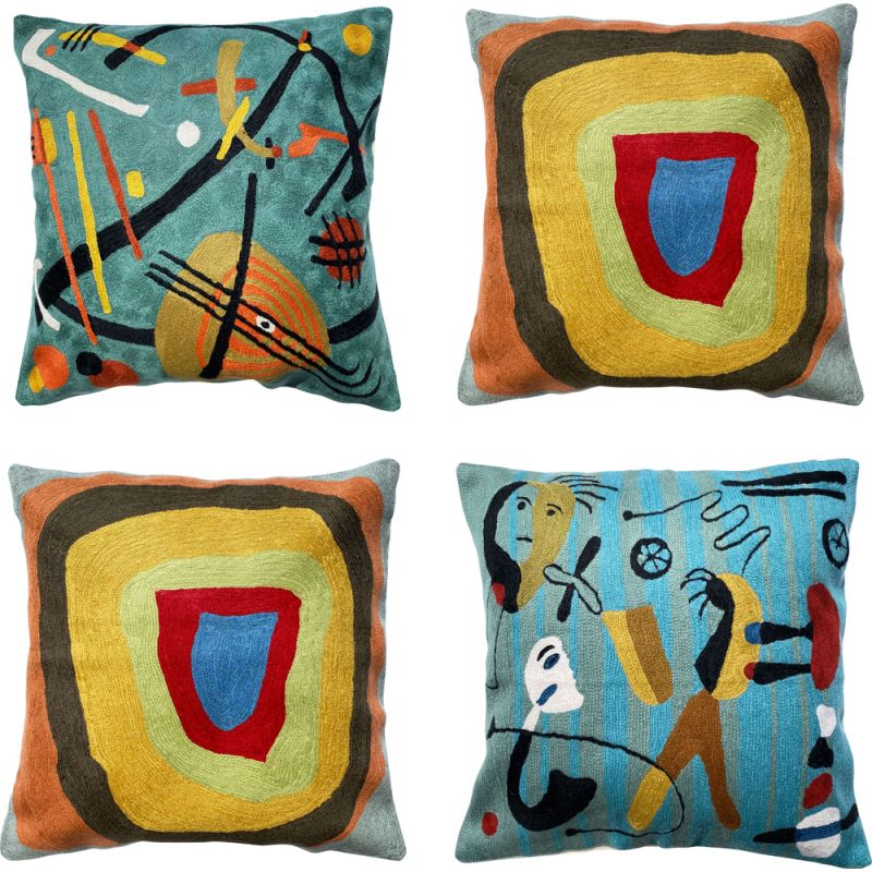 Set of 4 vintage multicolored cushion covers in wool embroidered with abstract patterns