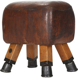 Mid-Century Czech pommel horse in leather - 1930s