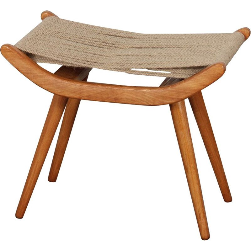 Vintage wood and rope stool by Uluv, Czech Republic 1960s