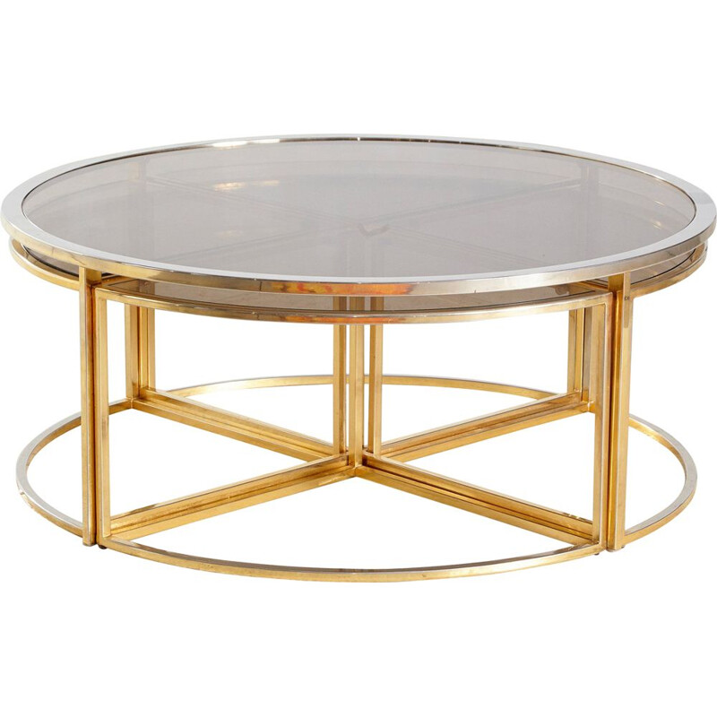 Set of 5 vintage Golden Framed Round Glass Coffee Table and Nesting Tables 1960s