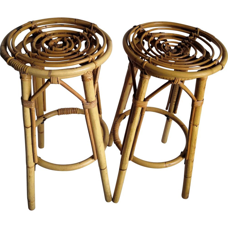 Pair of vintage high bar stools in rattan and bamboo 1960s