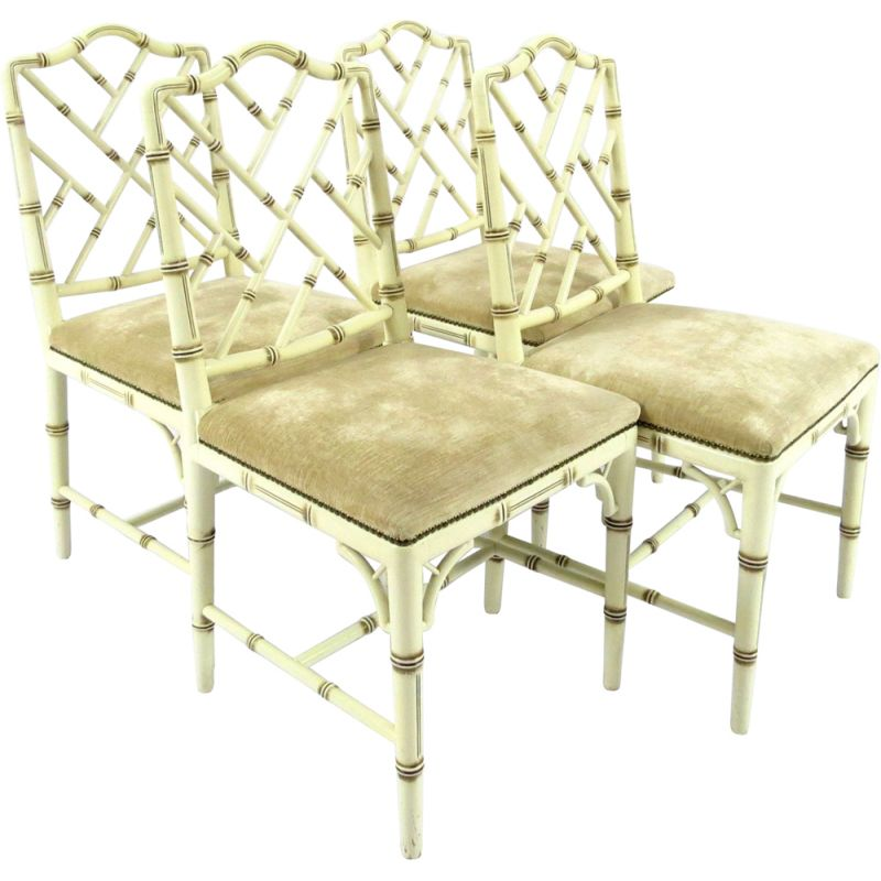 Set of 4 vintage faux bamboo chairs 1970s