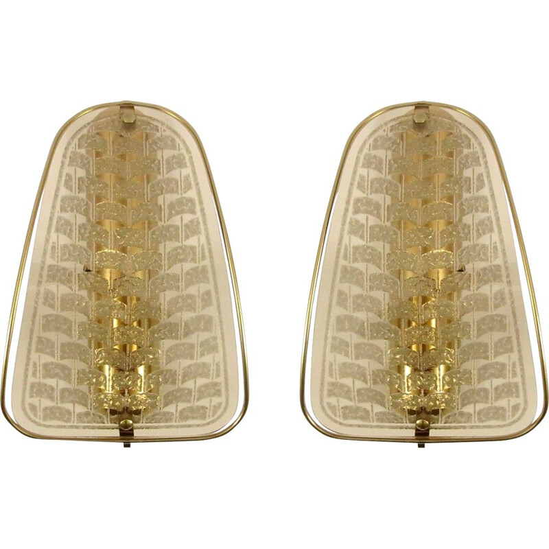 Pair of vintage gilded metal and smoked glass wall lights 1970s