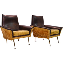 Pair of Italian brown armchairs - 1950s