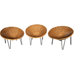 Set of 3 armchairs in rattan and metal - 1950s