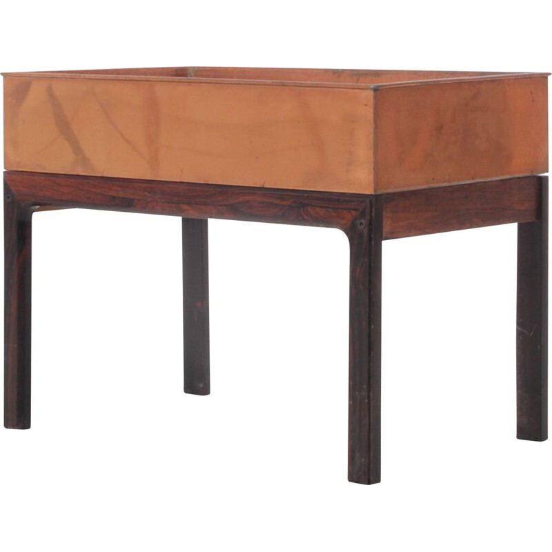 Vintage planter in Rio rosewood and copper, Scandinavian
