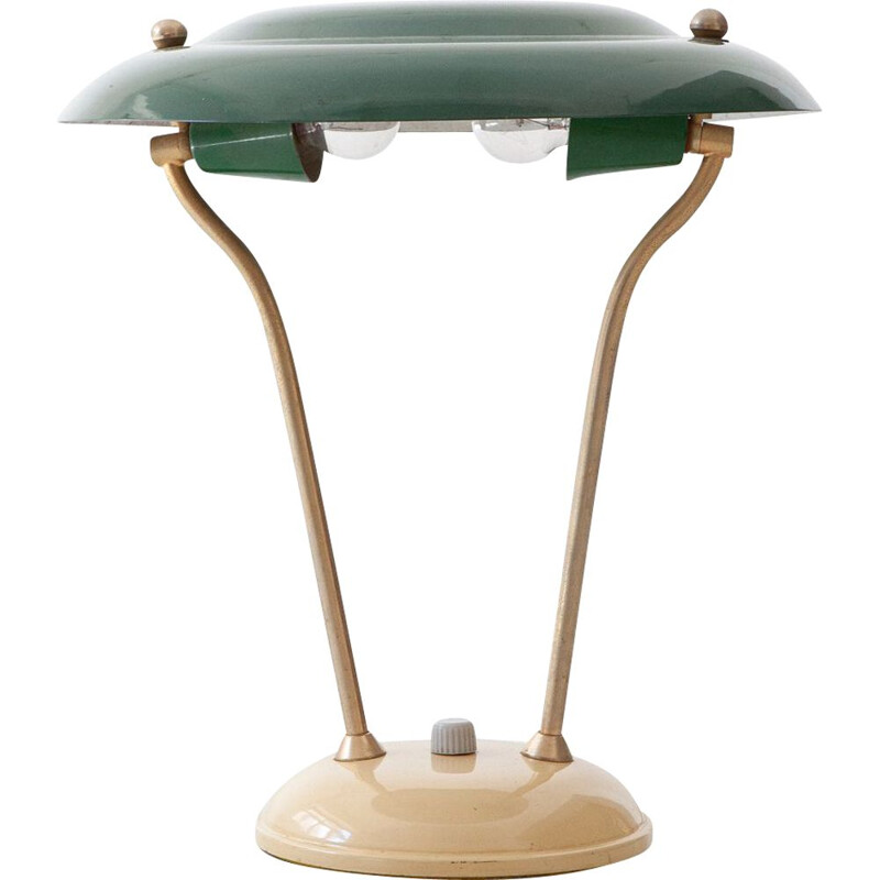 Vintage Green and Cream Table Lamp, Italian 1950s