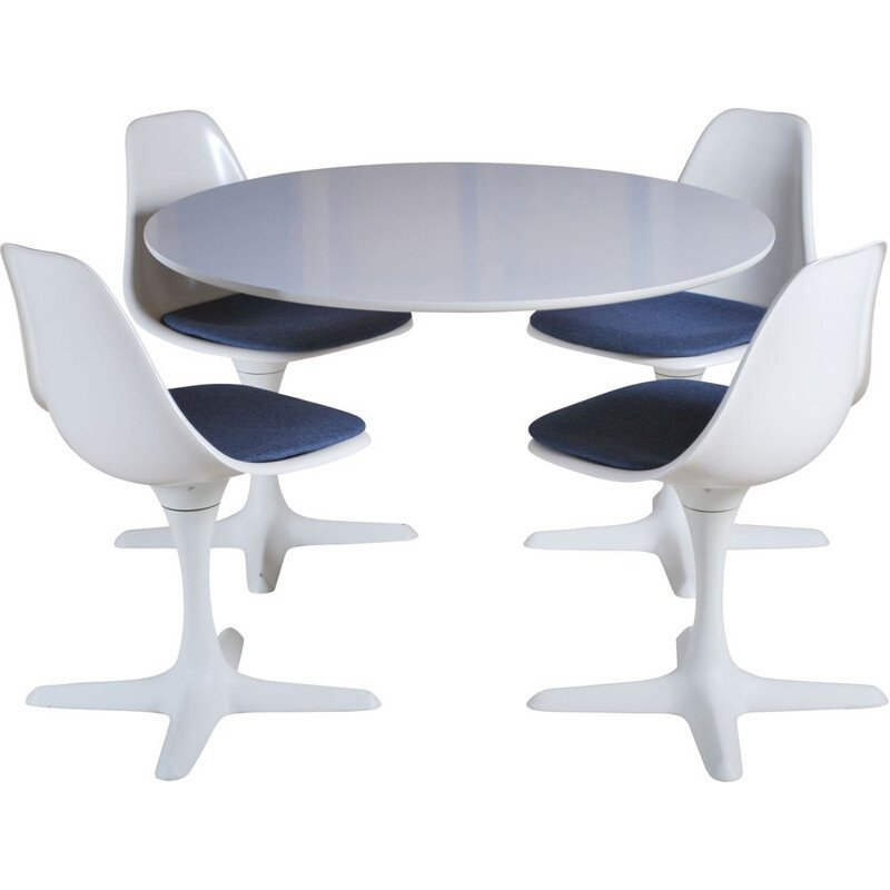 Vintage Arkana tulip dining table and 4 chairs by Maurice Burke 1960s