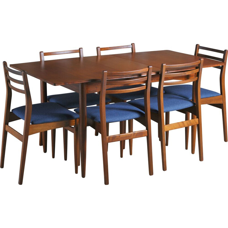 Vintage extending teak dining table and 6 chairs, British 1960s