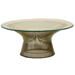 """Knoll """"1725 A"""" coffee table in glass and steel, Warren PLATNER - 1970s"""