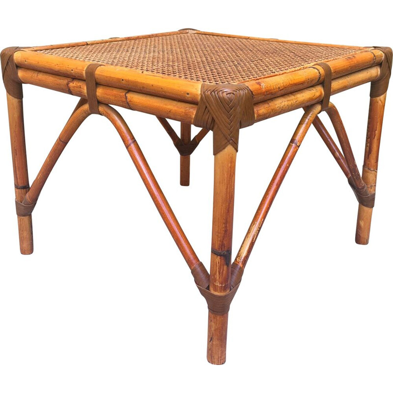 Vintage wood and bamboo coffee table 1970s
