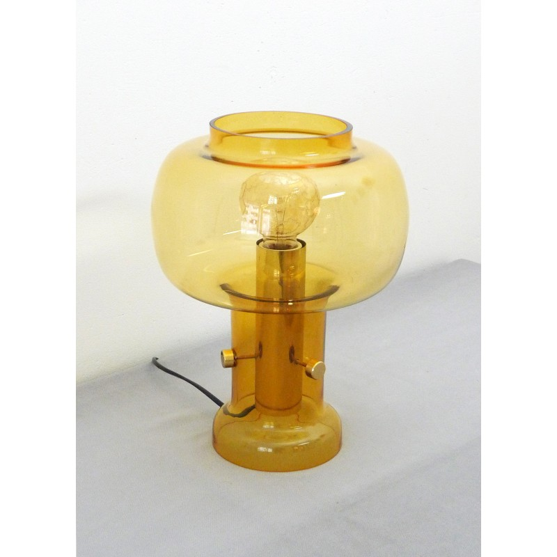 Translucent Table Lamp With Amber Glass 1960s