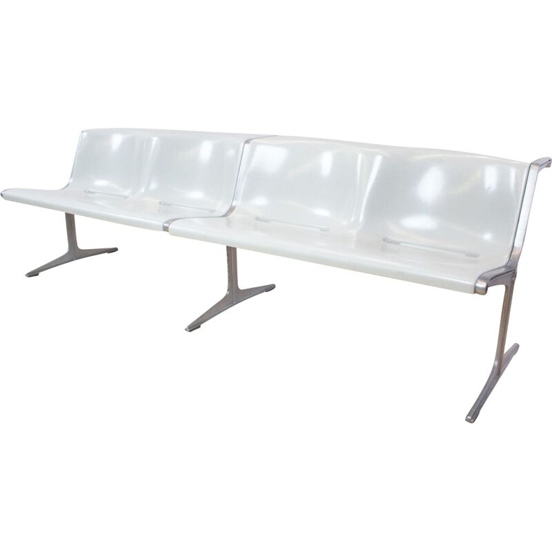 Vintage bench series 1200 in grey and aluminium by Friso Kramer for Wilkhahn, Netherlands 1972