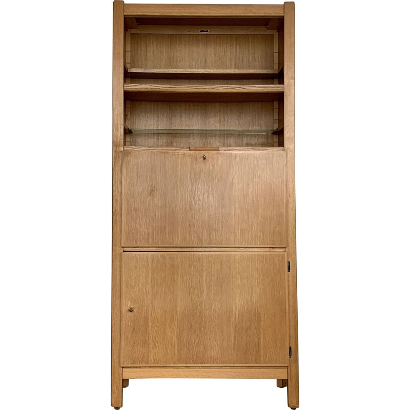 Vintage bookcase with oak secretary by Émile Seigneur 1960