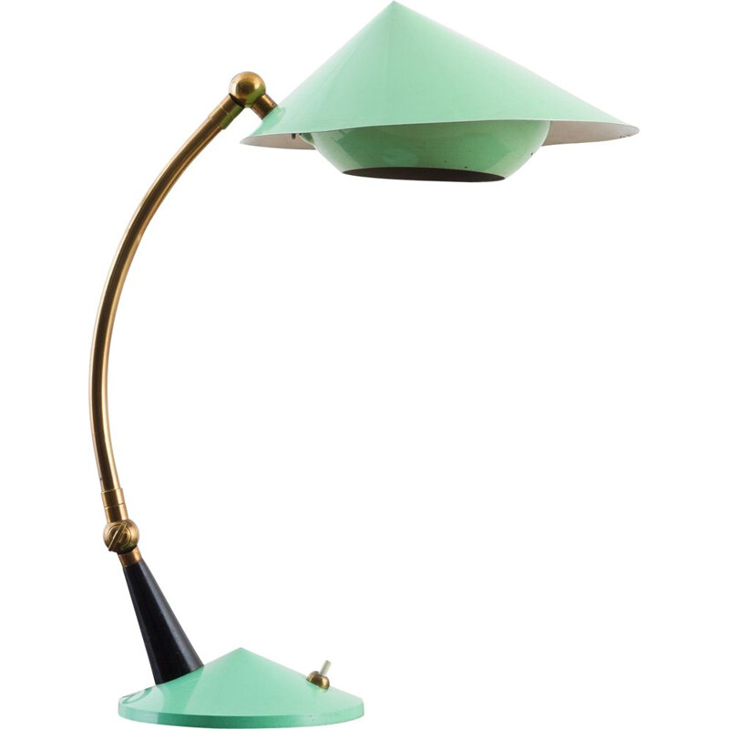 Vintage Stilux Milano desk lamp in mint color lacquer and brass details