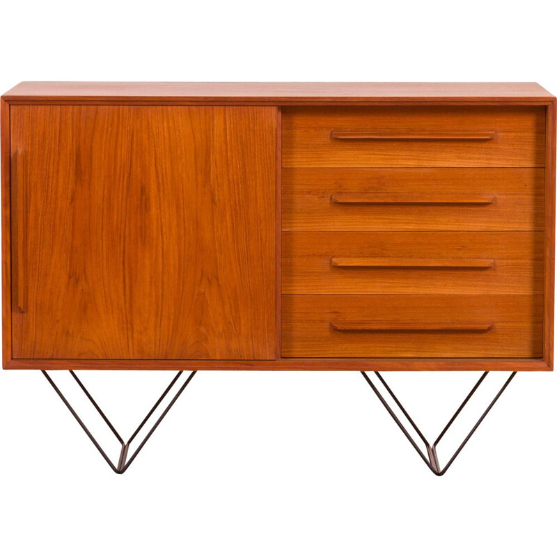 Vintage teak small sideboard or vintage vanity unit with metal legs, Danish 1970s