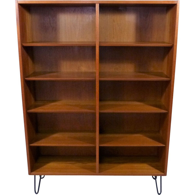 Vintage Teak bookcase with hairpin legs, Denmark 1960s