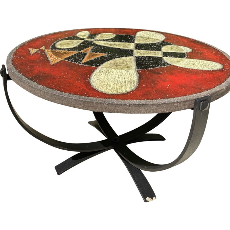 Vintage enamelled lava coffee table with geometric design by Jean Jaffeux 1960