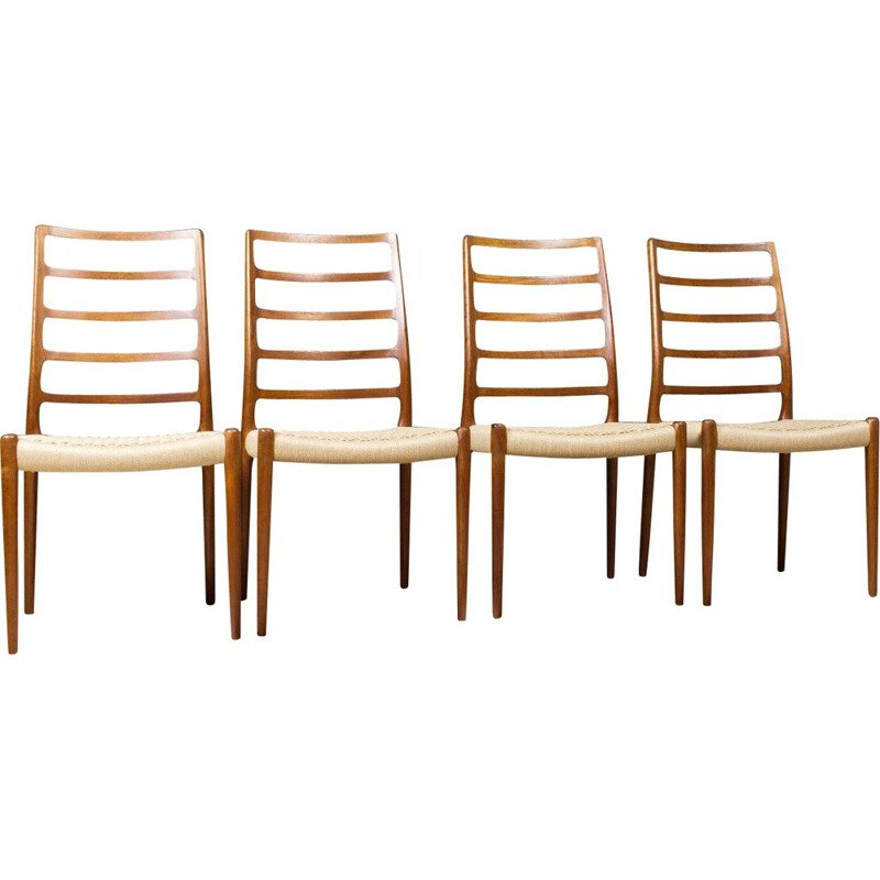 Set of 4 vintage teak dining chair by Niels Otto for Moller Mobelfabrik 1954s