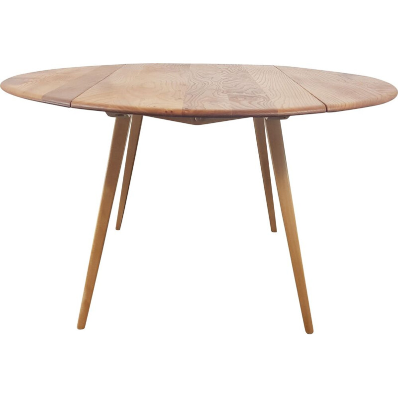 Vintage Round Drop Leaf Dining Table by Ercol, English 1960s