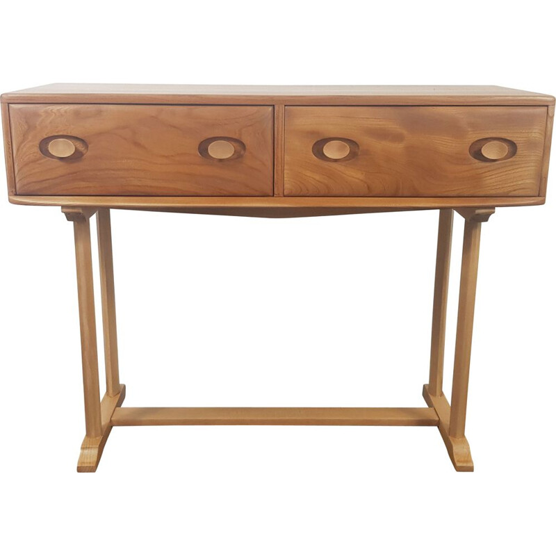Vintage elm and beech Console Table by Ercol, English 1960s