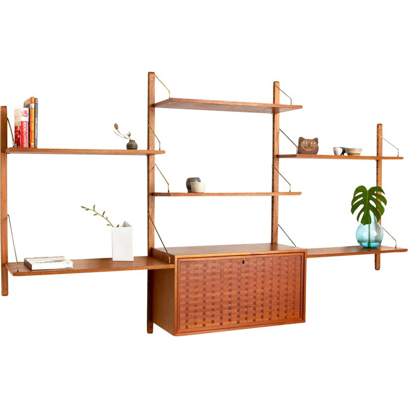 Vintage teak wall unit by Poul Cadovius for Cado, Danish 1960s