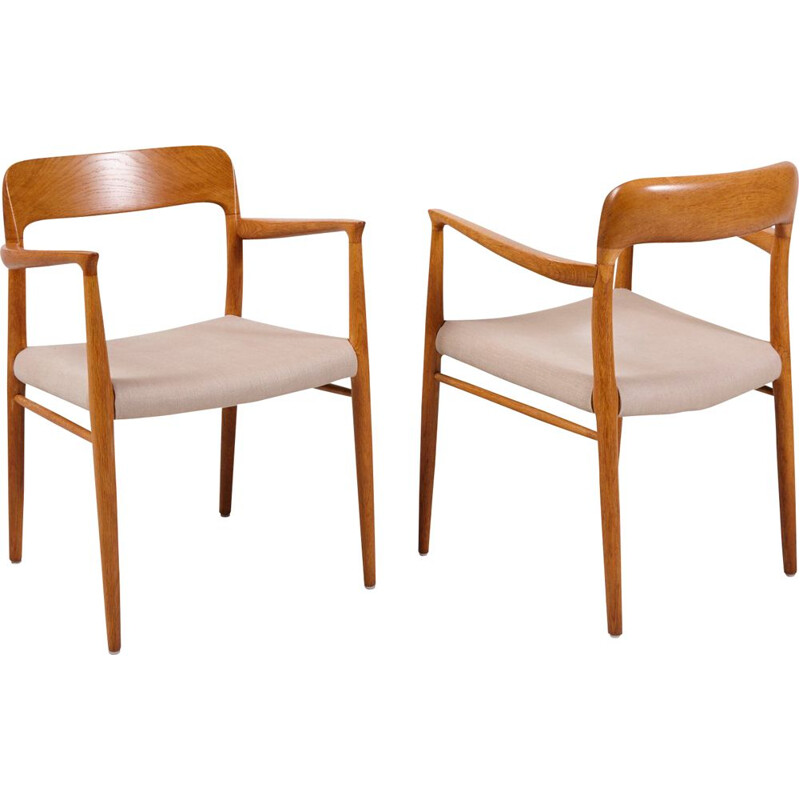 Pair of vintage Model 75 Armchairs by Niels Otto Møller for J.L. Mollers, Denmark 1950s