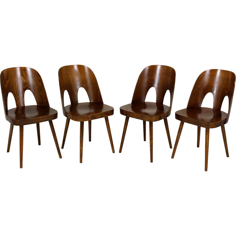 Set of 4 vintage wooden chairs by Oswald Haerdtl for Ton, Czechoslovakia 1950